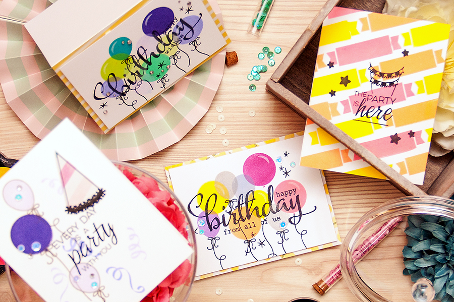 Yana Smakula | Party and Birthday themed cards with Winnie & Walter! Card a Month Video #16 #cardmaking #stamping