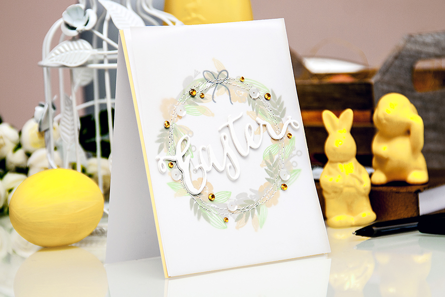 Yana Smakula | Spring Wreath Easter Card using Hero Arts and Simon Says Stamp