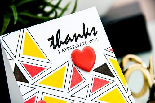 Yana Smakula | Altenew Thanks Card #stamping #triangles #geometric