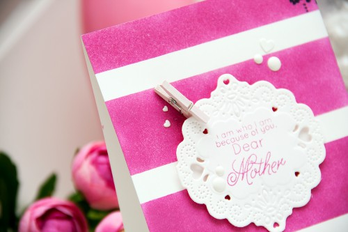 Yana Smakula | Spellbinders Dear Mother Pink Striped Card using Pierced Delight S2-143 #cardmaking #mothersday #spellbinders