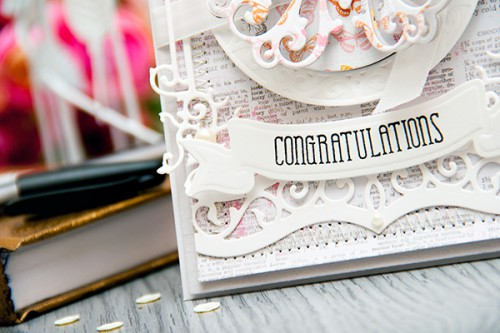 Yana Smakula 2015 Paper Crafters Library Congratulations Card using Spellbinders and Pink Paislee