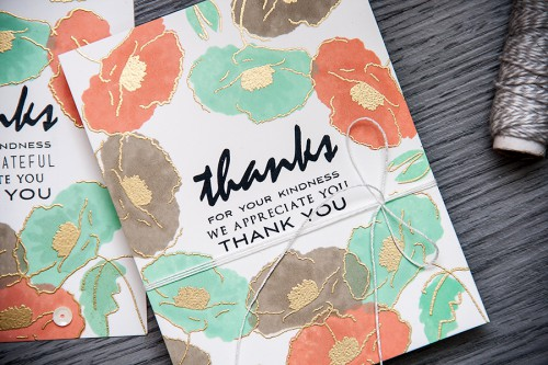 Yana Smakula | Video. One layer stamped and heat embossed Thank You cards with Painted Poppy stamp set from Altenew