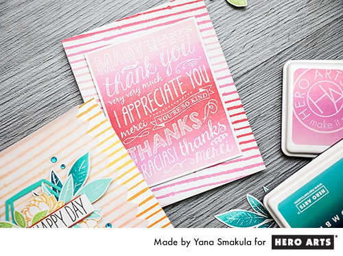 Fun ombre backgrounds with 6x6 stamps from Hero Arts. Video