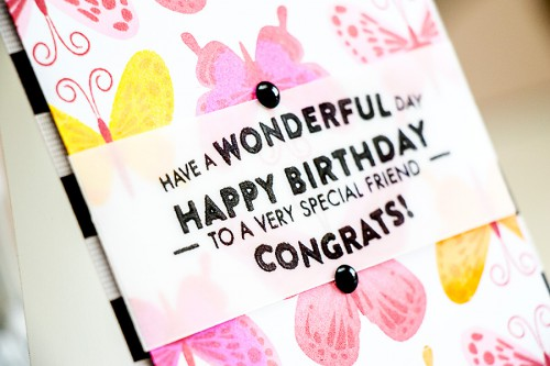 Yana Smakula | Hero Arts - Have a Wonderful Day Birthday Stamped Butterflies Card