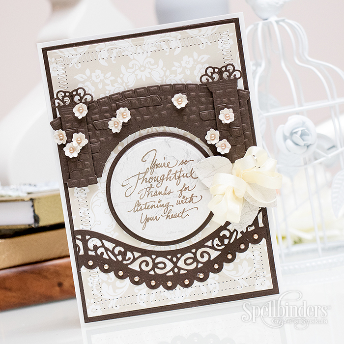 Yana Smakula | Spellbinders Gramma's Bridge Die Thanks For listening Card