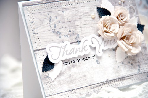 Yana Smakula | Spellbinders Thank You Card using S2-153 Sentiments 6 S5-086 Bitty Blossoms S5-131 A-2 Matting Basics A S5-143 Jewel Flowers and Flourishes