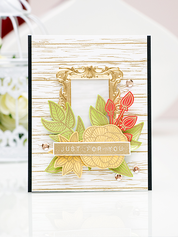 Yana Smakula. Video. Just For You Card using Striped Flowers Altenew Stamping Heat Embossing