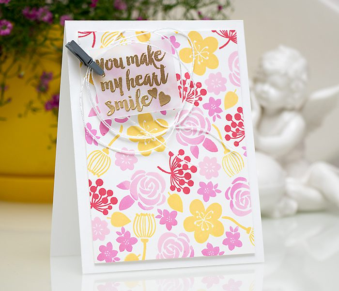 Hero Arts | Colorful Stamped Floral Pattern - You Make My Heart Smile