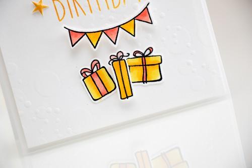 Yana Smakula. Happy Birthday Piggy Card. Dry embossed bokeh using stencils. Video