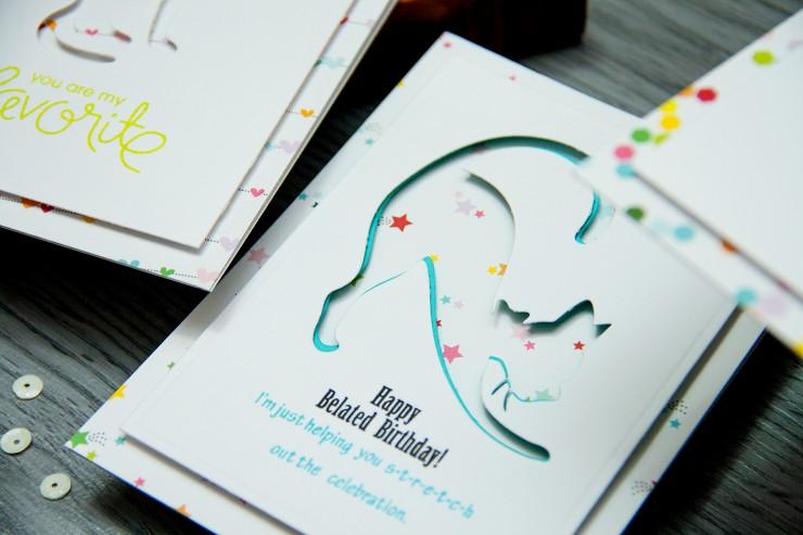 Yana Smakula | Spellbinders Cats Trio Cards. Negative die cutting 3 ways