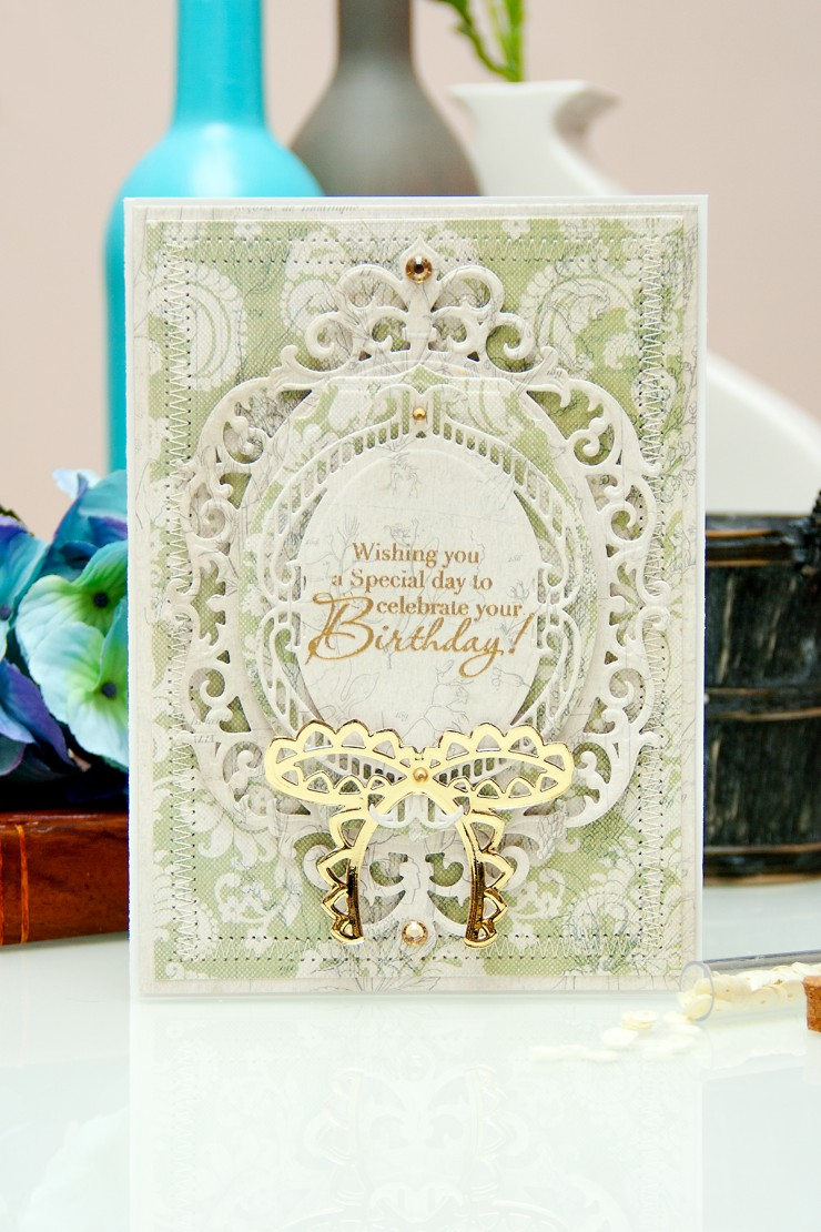 Yana Smakula | Spellbinders Birthday Card  5 x 7 Matting Basics A S6-001, 5 x 7 Matting Basics B S6-002, Fleur de Elegance S4-475, Labels Thirty Six S4-418, Bow Couture S4-449