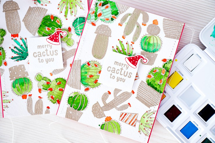 Yana Smakula | Hero Arts Merry Cactus to You Watercolor Holiday Cactus Card. Video