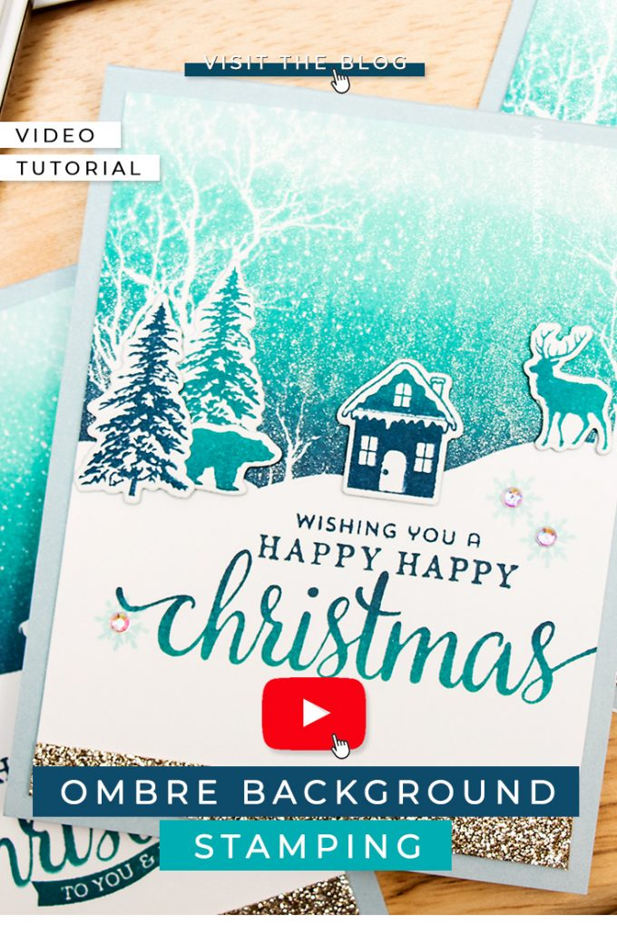 Yana Smakula | Hero Arts Ombre Background Stamping - Faux Ink Blended Look with Ombre Inks. Video tutorial #cardmaking #heroarts #ombre