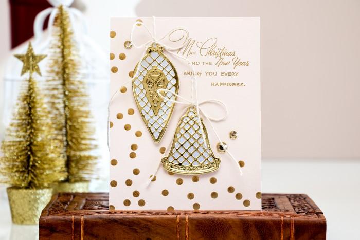 Spellbinders | Modern Holiday Card with Lattice Ornaments S3-222 dies. Video by Yana Smakula