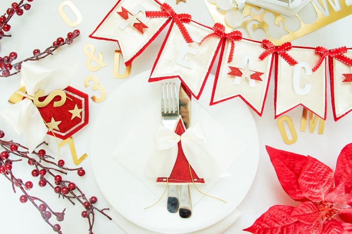 Spellbinders | Holiday Table Decorations - Banner, Utencils Holder and a Place Card using Contour Dies by Yana Smakula