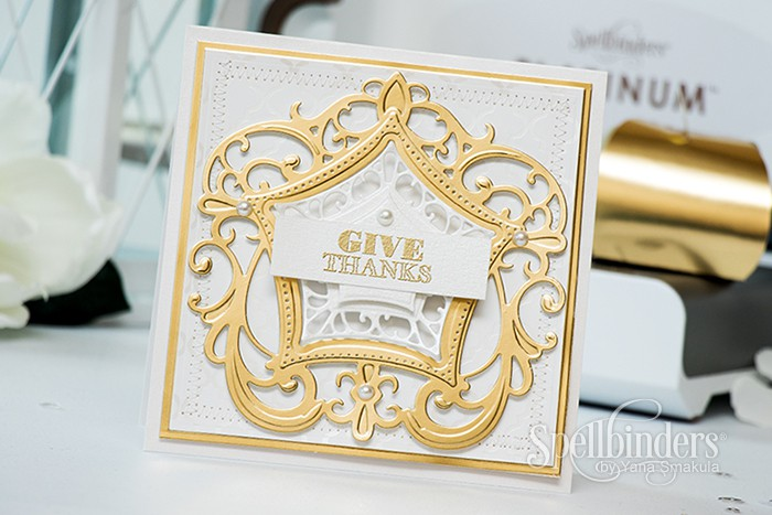 Spellbinders   Give Thanks Card using S4-565 Labels Forty Eight and S6-044 Label 48 Decorative Elements dies
