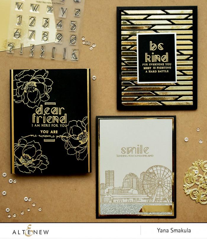 Altenew | Modern Deco Alpha Stamp Set Cards by Yana Smakula