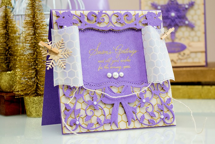Spellbinders   Holiday Window Card. Video. Card using S5-236 Create a Flake ⦁ S6-025 6 x 6 Matting Basics A ⦁ S6-042 6 x 6 Holly Deco Accent