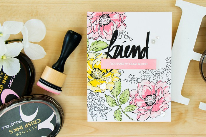 Altenew | Masked and Stamped Background with Beautiful Day stamp set. Video