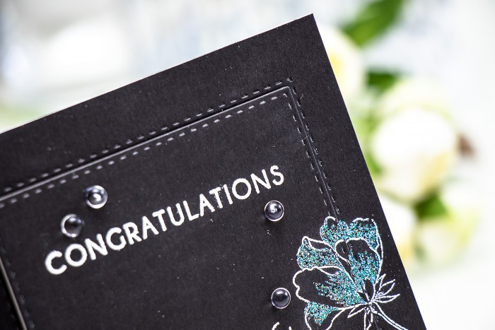 Altenew | Congratulations Card using Peony Bouquet stamp set and WOW embossing powders. By Yana Smakula