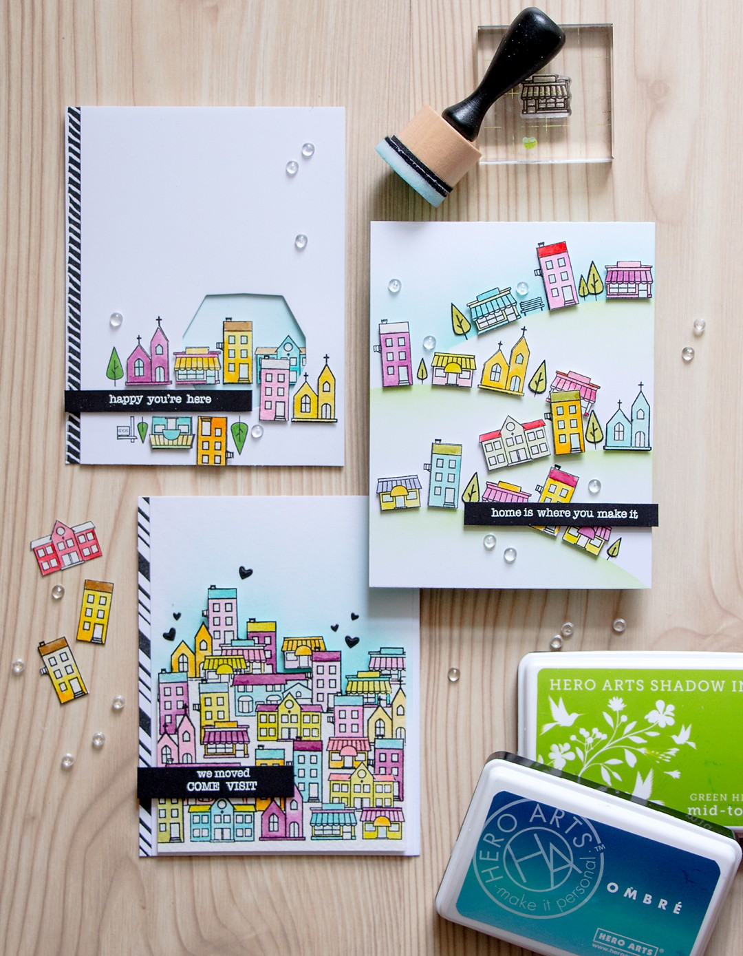 Hero Arts | Building a Town with Mini House Stamps