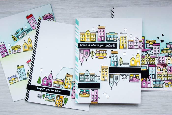 Hero Arts | Building a Town with Mini House Stamps by Yana Smakula