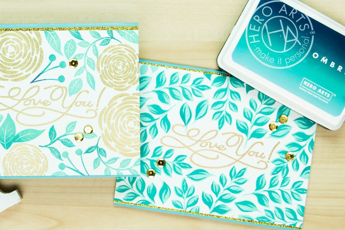 Hero Arts | Stamped and heat embossed backgrounds. Love you cards by Yana Smakula