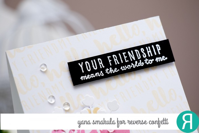 Reverse Confetti | February 2015 Release. Your Friendship Means the World to me Card by Yana Smakula