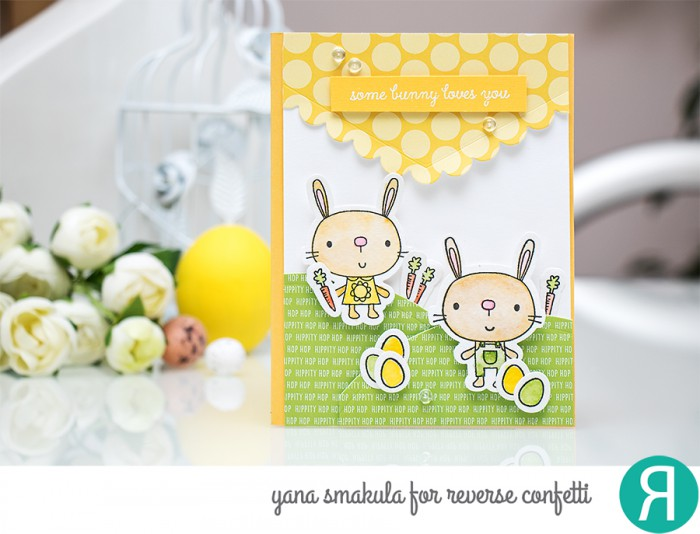 Reverse Confetti | Some Bunny Loves You Card by Yana Smakula. Easter Scene stamping and die cutting