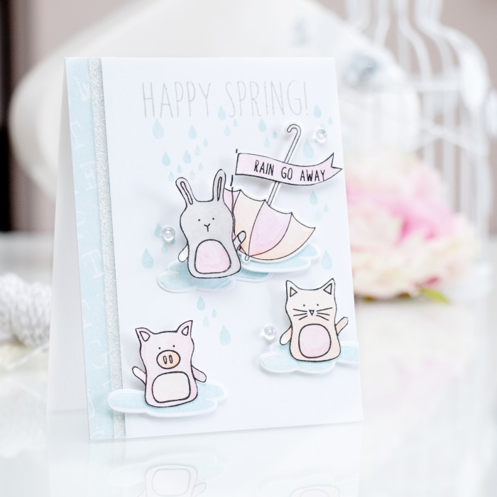 Simon Says Stamp | Happy Spring - Soft Pastel Watercoloring using Prima Water Soluble Oil Pastels. Card by Yana Smakula