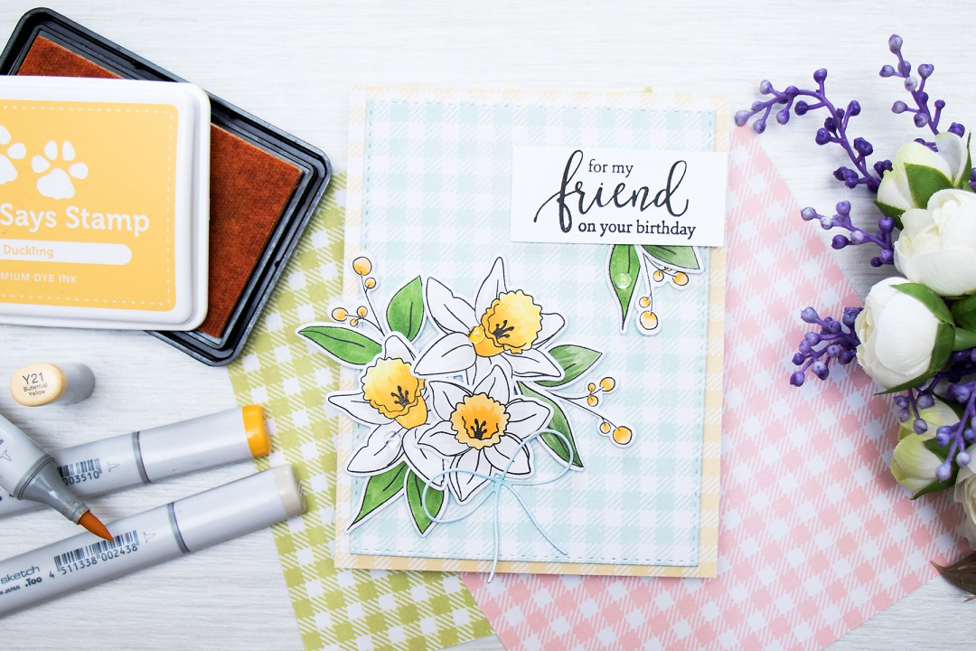 Simon Says Stamp | Beautiful Daffodils Spring Card by Yana Smakula