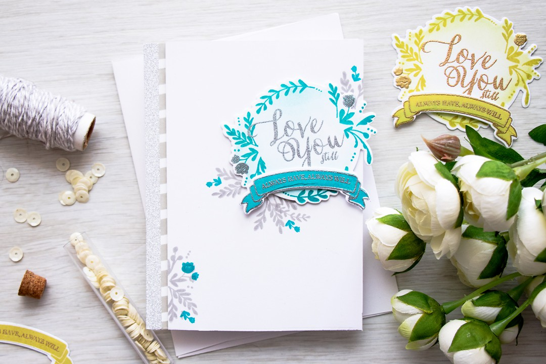 WPlus9 | Love You Still - Silver Stamping & Heat Embossing. Love & Valentine's Day Card by Yana Smakula
