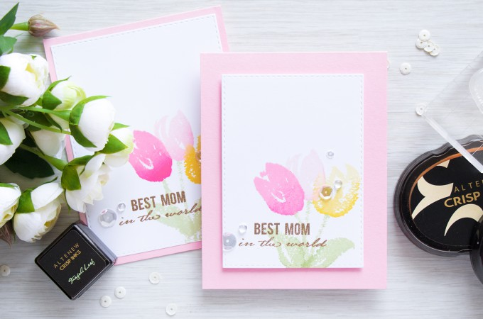 Altenew | Faux Watercolor Tulips Mother's Day Card by @yanasmakula