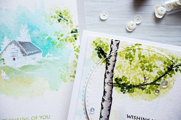 Altenew | Birch Tree Watercolor Card by @yanasmakula using stamps from @altenew