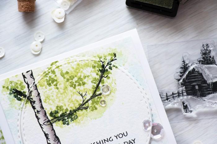 Altenew | Birch Tree Watercolor Card by @yanasmakula using stamps from @altenew