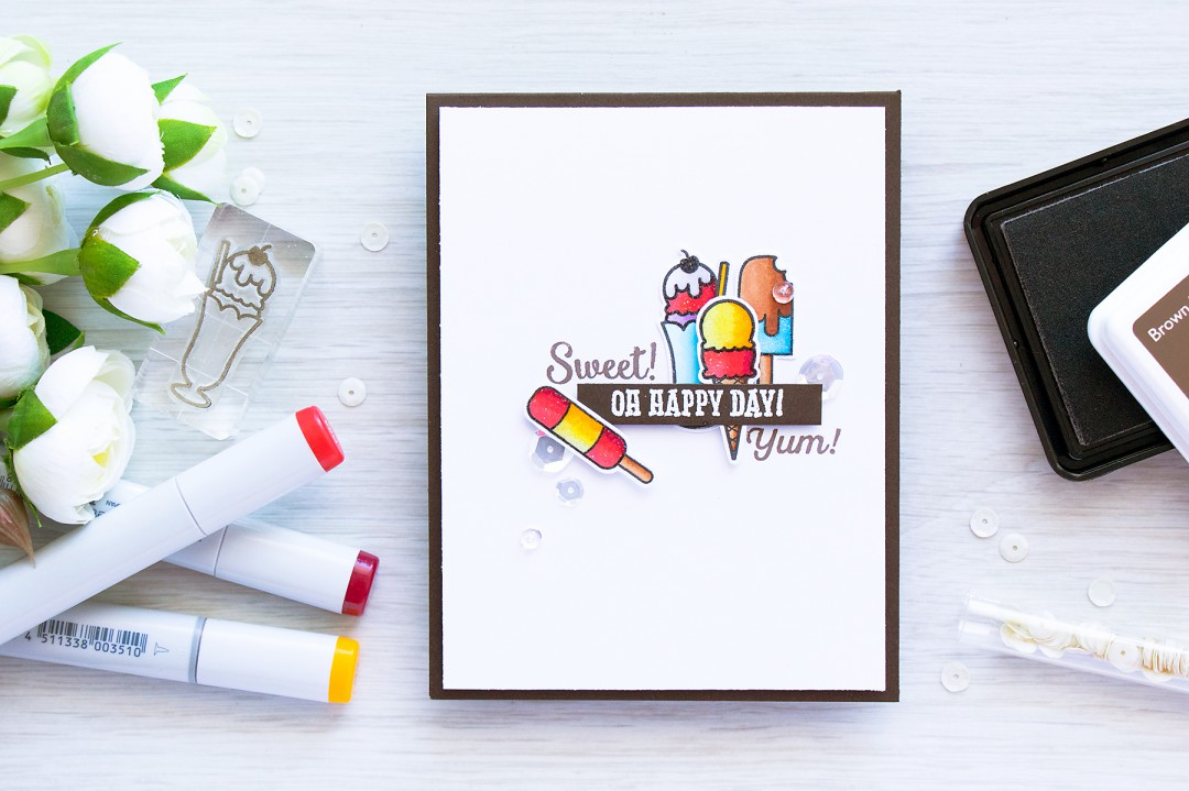 Hero Arts | Sweet Ice Cream Card using Hero Arts Oh Happy Day by Lia stamp set. Card created by @yanasmakula