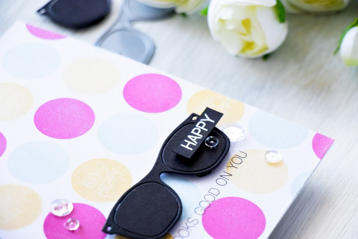 Simon Says Stamp | Happy Looks Good On You Sunglasses Die Cut and circle stamped pattern. Card and video by @yanasmakula