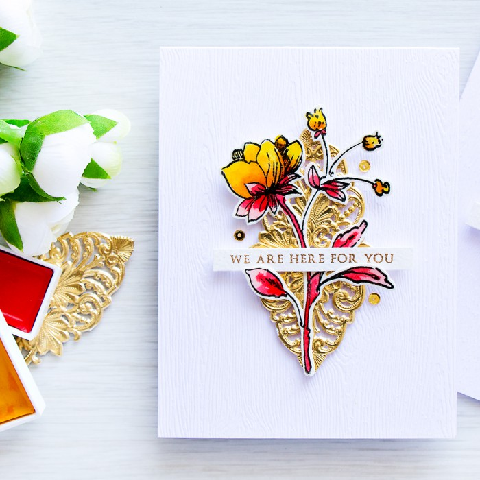 Altenew | We Are Here For You - sympathy water card with Wild Hibiscus stamp set. Project and video tutorial by @yanasmakula
