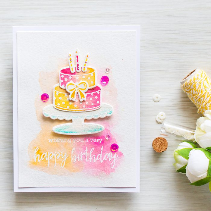 Hero Arts | Watercolor Birthday Cake Wishing You a Very Happy Birthday Card using BIRTHDAY CAKE LAYERING CL950