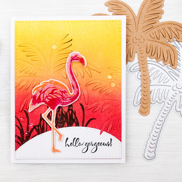 Hero Arts | 2016 Summer Catalog Preview – Paper Layering. Hello Gorgeous Flamingo and Palm Tree Card