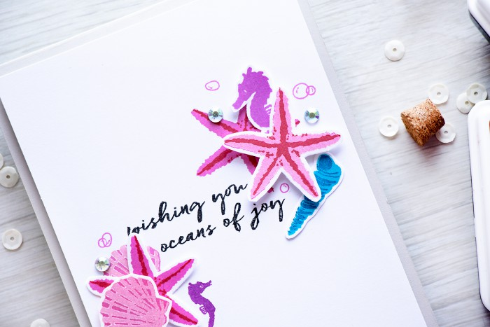 Hero Arts | 2016 Summer Catalog Preview - Sea Horse Color Layering Card by @yanasmakula