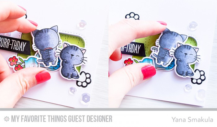MFT Stamps | Interactive Happy Purr-Thday Card with Cats and a Fishbowl by @yanasmakula