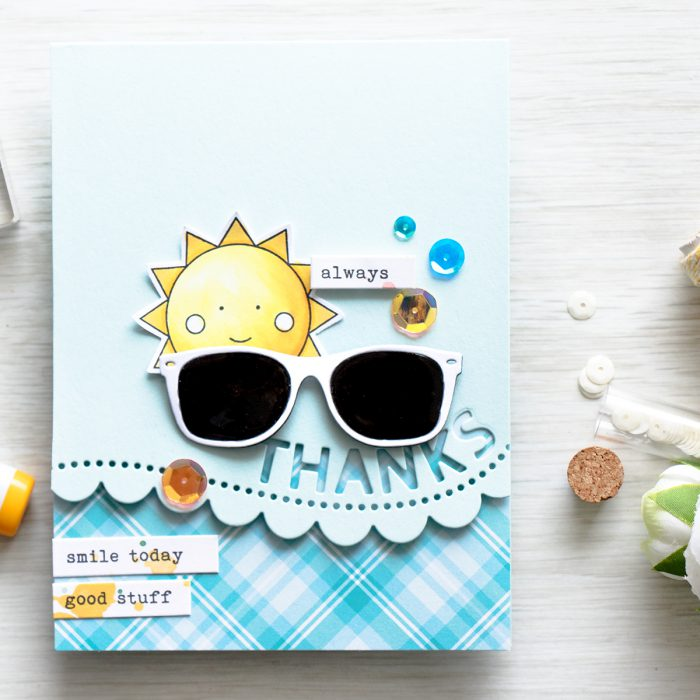 Simon Says Stamp | May 2016 Card Kit Showered with Love – Sunglasses Thanks Card by Yana Smakula