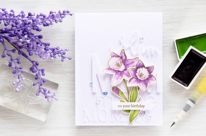 Simon Says Stamp | Purple Daffodils Birthday Card for Mom