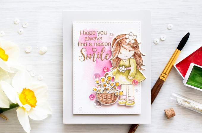 Simon Says Stamp | Watercolor Flower Basket - Melody's Easter Reason To Smile Card