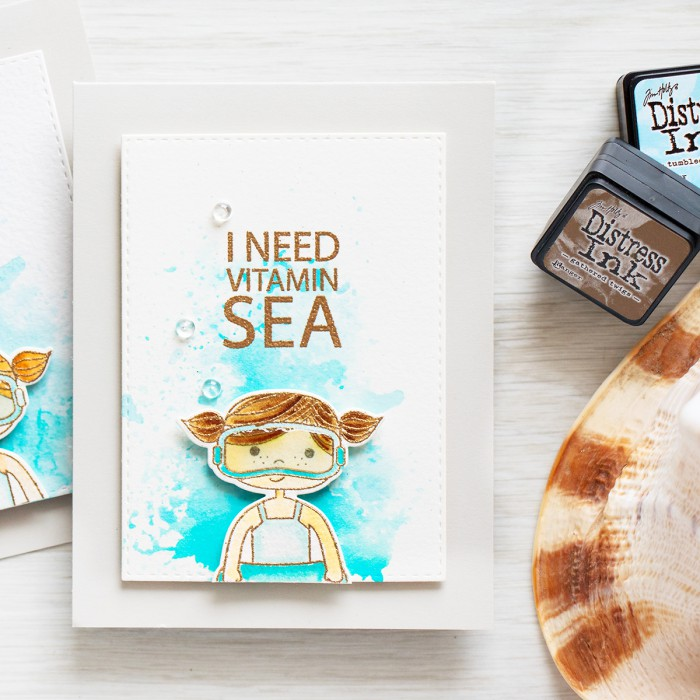 Simon Says Stamp | I Need Vitamin SEA Card. Distress ink watercolor and ink smooshing. Video