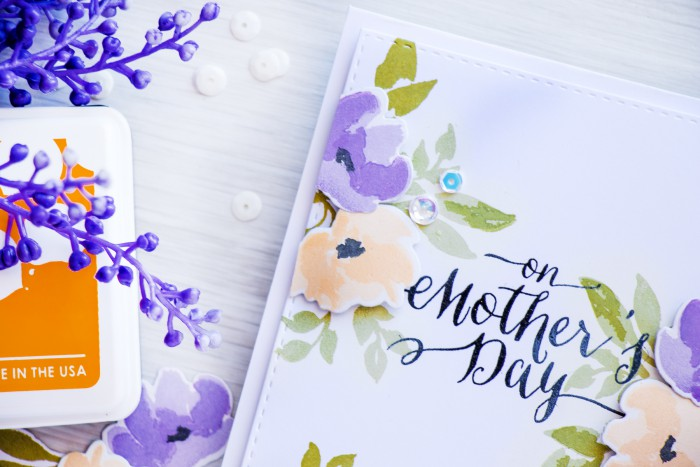 WPlus9 | Stretching inks for color layering stamps. Video. Mother's Day Card with Watercolored Anemones by Yana Smakula