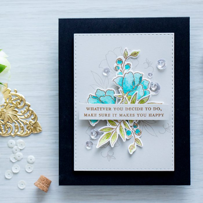 Altenew | Make sure it makes you happy Card using Beautiful Quotes and Peony Bouquet stamp sets