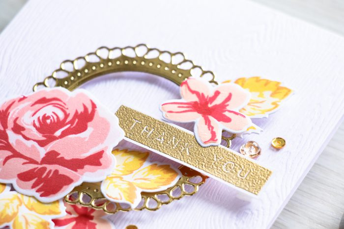 My Perfect Cardmaking Formula: White Cardstock + Gold Die Cut Frame + Florals + Sentiment