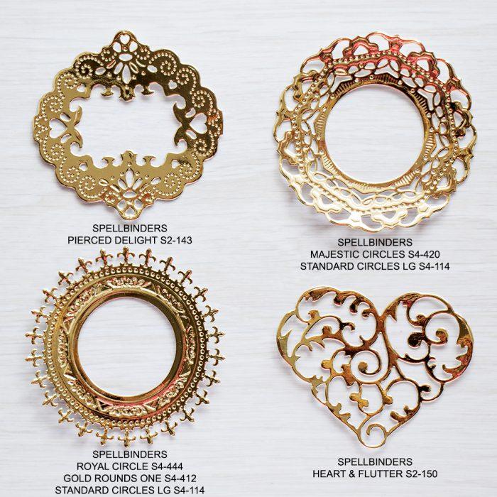 Spellbinders Gold Frames & Die Cuts Examples for CAS cards